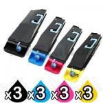 3 Sets of 4 Pack Non-Genuine alternative for TK-859 Toner Cartridges suitable for Kyocera TASKalfa 400ci, 500ci [3BK,3C,3M,3Y]