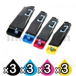3 Sets of 4 Pack Non-Genuine alternative for TK-869 Toners suitable for Kyocera TASKalfa 250ci, 300ci [3BK,3C,3M,3Y]