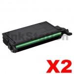 2 x Compatible Samsung CLP-K660B Black Toner Cartridge ST907A - 5,500 pages