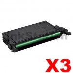 3 x Compatible Samsung CLP-K660B Black Toner Cartridge ST907A - 5,500 pages