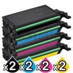 2 sets of 4-Pack Compatible Samsung CLP620ND, CLP670ND, CLX6220FX, CLX6250FX Toner Cartridge [2BK,2C,2M,2Y]