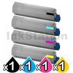 4 Pack OKI Compatible C831N Toner Combo - 10,000 pages (44844525-44844528) [1BK,1C,1M,1Y]