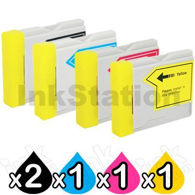 5 Pack Brother LC-57 Compatible Ink Combo [2BK,1C,1M,1Y]