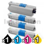 4 Pack Compatible OKI C510,C530,MC561 Toner Cartridges (44469806-44469727)