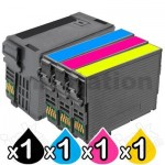 4 Pack Epson 254XL + 252XL Compatible Ink Cartridges [C13T254192, C13T253292-C13T253492][1BK,1C,1M,1Y]