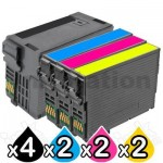 10 Pack Epson 254XL + 252XL Compatible Ink Cartridges [C13T254192, C13T253292-C13T253492][4BK,2C,2M,2Y]