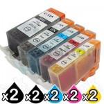 10 Pack Canon PGI-650XL CLI-651XL Compatible High Yield Inkjet Cartridges [2BK,2PBK,2C,2M,2Y]
