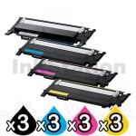 3 sets of 4-Pack Compatible Samsung SLC430, SLC480FW Cartridge Combo CLT404S [3BK,3C,3M,3Y]