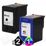 3 Pack HP 56 + 57 Compatible Inkjet Cartridges C6656AA + C6657AA [2BK,1CL]