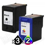 5 Pack HP 56 + 57 Compatible Inkjet Cartridges C6656AA + C6657AA [3BK,2CL]