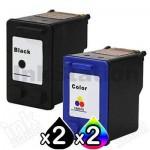 4 Pack HP 60XL Compatible Inkjet Cartridges CC641WA + CC644WA [2BK,2CL]