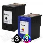 6 Pack HP 60XL Compatible Inkjet Cartridges CC641WA + CC644WA [3BK,3CL]