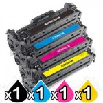 4 Pack HP CF380X-CF383A (312X/312A) Compatible High Yield Toner Cartridges [1BK,1C,1M,1Y]