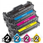 2 sets of 4 Pack HP CF380X-CF383A (312X/312A) Compatible High Yield Toner Cartridges [2BK,2C,2M,2Y]