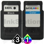 4-Pack Canon PG-640XL, CL-641XL Compatible High Yield Ink Cartridge [3Black + 1Colour]