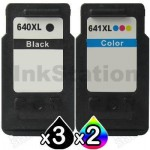 5-Pack Canon PG-640XL, CL-641XL Compatible High Yield Ink Cartridge [3Black + 2Colour]