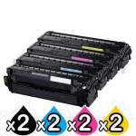 2 sets of 4 Pack Compatible Samsung SLC2620 SLC2670 SLC2680 Toner Cartridge Set CLT-505L [2BK,2C,2M,2Y]