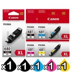5 Pack Canon PGI-680XL CLI-681XL High Yield Genuine Inkjet Cartridges Combo [1BK,1PBK,1C,1M,1Y]