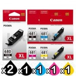 6 Pack Canon PGI-680XL CLI-681XL High Yield Genuine Inkjet Cartridges Combo [2BK,1PBK,1C,1M,1Y]