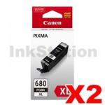 2 x Canon PGI-680XLBK High Yield Genuine Black Inkjet Cartridge - 400 pages
