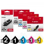 6 Pack Canon PGI-680XXL CLI-681XXL Extra High Yield Genuine Inkjet Cartridges Combo [2BK,1PBK,1C,1M,1Y]