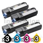3 sets of 4-Pack Dell 2130cn 2135cn Compatible laser toner Cartridge - 2,500 pages each [3BK,3C,3M,3Y]