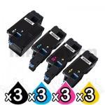 3 sets of 4-Pack Compatible Dell 1250c,1350cnw,1355cn,1355cnw, C1760nw, C1765nf, C1765nfw Toner Cartridge Set [3BK,3C,3M,3Y]
