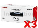 3 x Canon FX-12 Black Genuine Toner Cartridge - 4,500 page