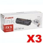 3 x Canon FX-9 Black Genuine Toner Cartridge - 2,000 pages