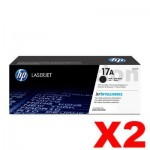 2 x HP CF217A (17A) Genuine Black Toner Cartridge - 1,600 Pages