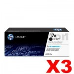 3 x HP CF217A (17A) Genuine Black Toner Cartridge - 1,600 Pages