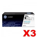 3 x HP CF230X (30X) Genuine Black High Yield Toner Cartridge - 3,500 Pages