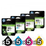 5 sets of 4 Pack HP 905XL Genuine High Yield Inkjet Combo T6M05AA - T6M17AA [5BK,5C,5M,5Y]