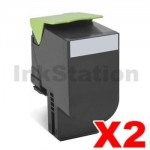 2 x Lexmark (70C8HK0) Compatible CS310 / CS410 / CS510 Black High Yield Toner Cartridge - 4,000 pages