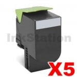 5 x Lexmark (70C8HK0) Compatible CS310 / CS410 / CS510 Black High Yield Toner Cartridge - 4,000 pages