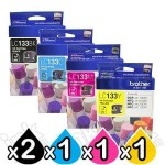 5 Pack Genuine Brother LC-133 Ink Cartridges [2BK+C+M+Y]