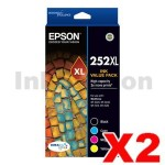 2 x Epson 252XL Genuine High Yield Ink Value Pack [C13T253692] [2BK,2C,2M,2Y]