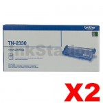 2 x Brother TN-2330 Genuine Toner Cartridge - 1,200 pages