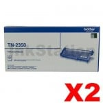 2 x Brother TN-2350 Genuine Toner Cartridge - 2,600 pages