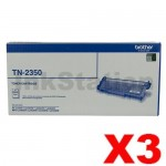3 x Brother TN-2350 Genuine Toner Cartridge - 2,600 pages
