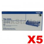 5 x Brother TN-2350 Genuine Toner Cartridge - 2,600 pages