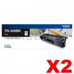 2 x Genuine Brother TN-349BK Black Toner Cartridge - 6,000 pages