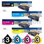 3 sets of 4-Pack Genuine Brother TN-349 Toner Combo [3BK,3C,3M,3Y]