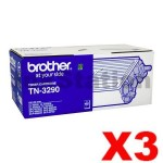 3 x Brother TN-3290 Black Genuine High Yield Toner Cartridge - 8,000 pages