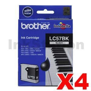 4 x Genuine Brother LC-57BK Black Ink Cartridge - 500 pages each
