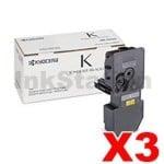 3 x Genuine Kyocera TK-5244K Black Toner Cartridge Ecosys M5526, P5026 - 4,000 pages