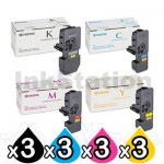 3 sets of 4 Pack Genuine Kyocera TK-5244 Toner Combo Ecosys M5526, P5026 [3BK,3C,3M,3Y]
