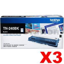 3 x Brother TN-240BK Genuine Black Toner Cartridge - 2,200 pages
