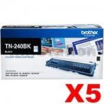 5 x Brother TN-240BK Genuine Black Toner Cartridge - 2,200 pages