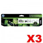 3 x HP 970XL Genuine Black High Yield Inkjet Cartridge CN625AA- 9,200 Pages
